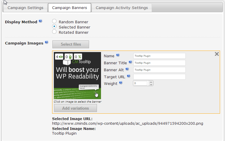 Selected Banner Ads settings