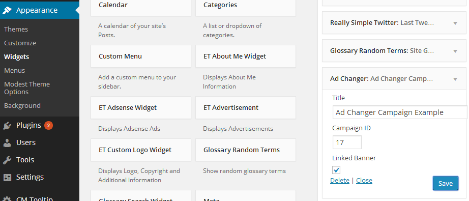 this screenshot shows how the widget for our banner ads server plugin for wordpress works.