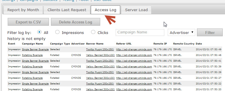 Our WP Advertising Plugin Includes a client plugin which can be installed remotely to access logs for statistics and geolocation for target specificity. With custom parameters to manage advertising days, domains, clicks and impressions, the CM Ad Changer plugin for WordPress makes managing banner ads easy