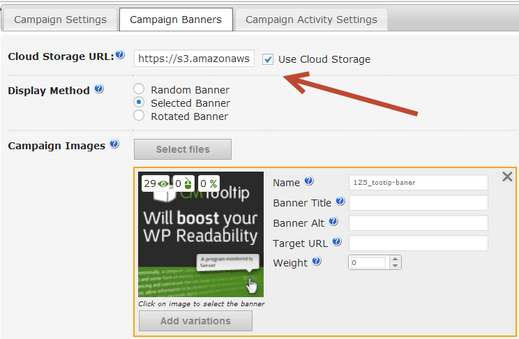 Wordpress Ad Server Cloud Storage can be setup to serve ad banners