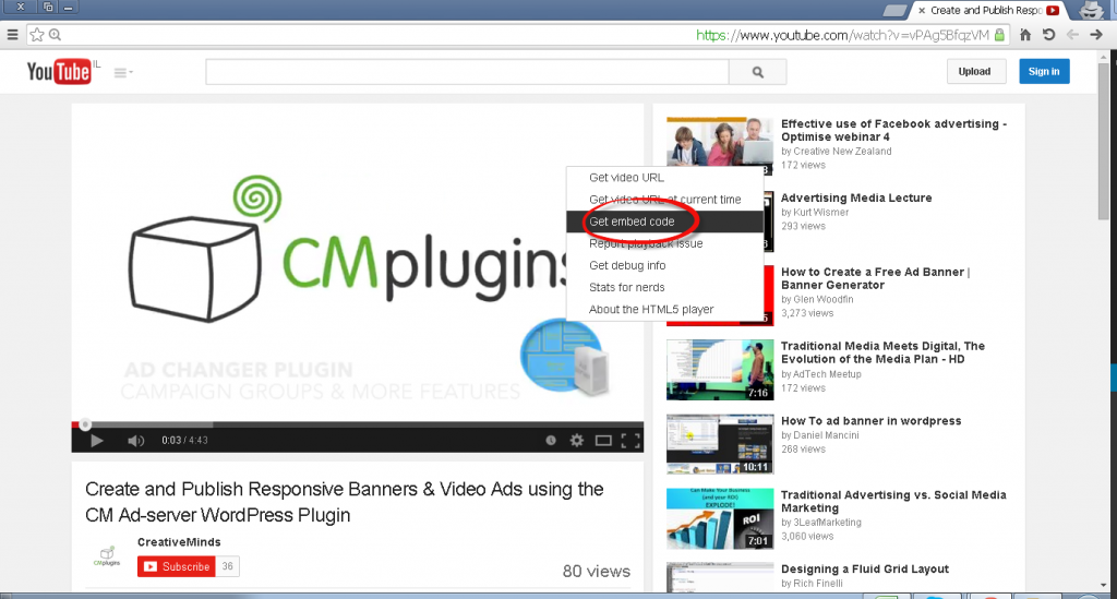 how to get embed a code from youtube into your video campaign