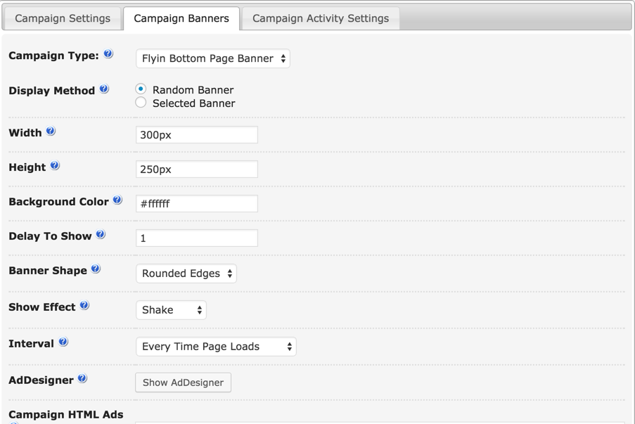 Fly-In banner settings in the Ad-Changer WordPress Plugin