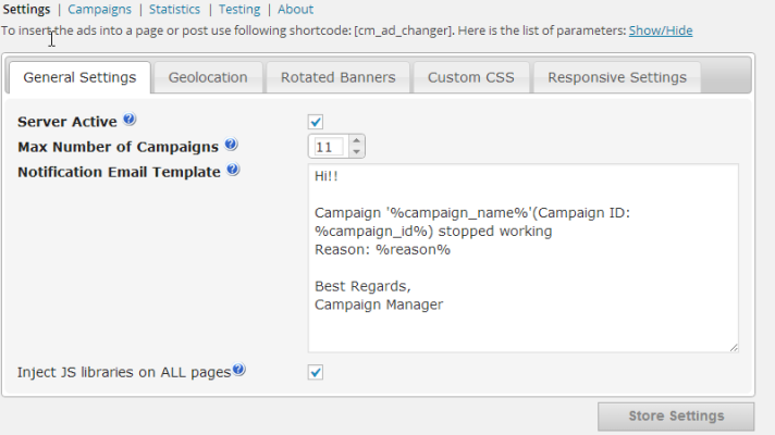 CM Ad Changer plugin for WordPress, general settings screenshot where you manage all your banner ads in one place