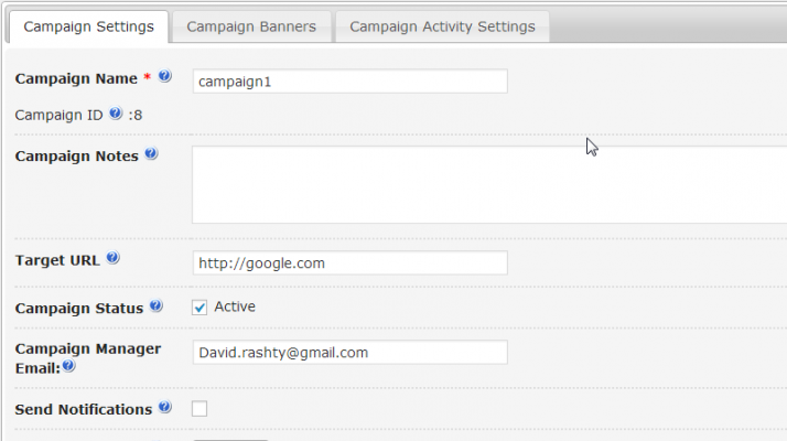 CM Ad Changer lets you change your advertising campaign settings in this screenshot image.