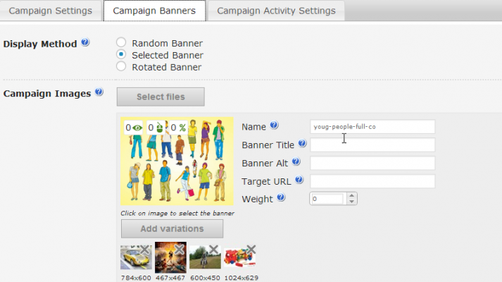 Control campaign banner selections to include ad variations of your choosing, see this screenshot of the CM Ad Changer plugin.