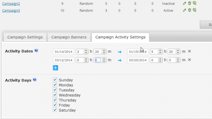 Here is a screenshot which shows how you can view your campaign activity and control the views with custom settings inside the CM Ad Changer plugin for WordPress.