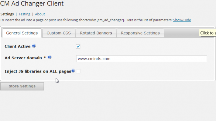 Client settings are shown here for how to manage the way ads are changed on individual websites from one place.
