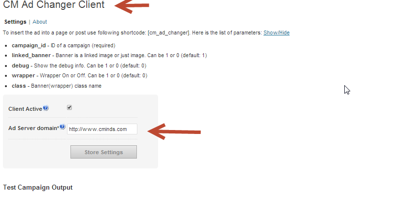 Plugin settings for the CM Ad Changer to manage the client side of where the banners are displayed.